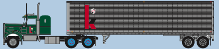 Trainworx N Kenworth W900/40' trailer set Kingsway  -tractor drive wheels will be red